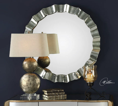 Sabino Scalloped Antiqued Mirror Framed Round Mirror - Innovations Designer Home Decor