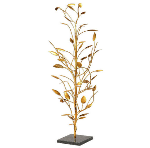 Seedling Tree Metallic Gold Leaf Sculpture - Innovations Designer Home Decor