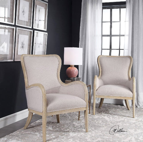 Shantel Pale Gray Wing Chair - Innovations Designer Home Decor