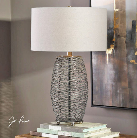 Sinuous Wavy Steel Mesh Table Lamp - Innovations Designer Home Decor