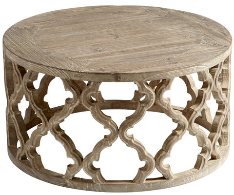 Sirah Weathered Pine Quatrefoil Round Coffee Table - Innovations Designer Home Decor