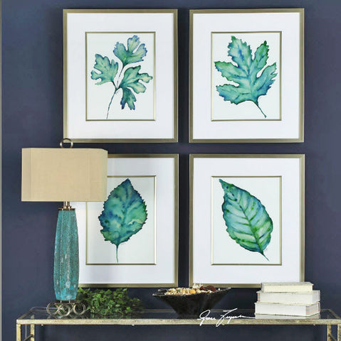 Spring Leaves Watercolor Reproduction Framed Prints - Innovations Designer Home Decor
