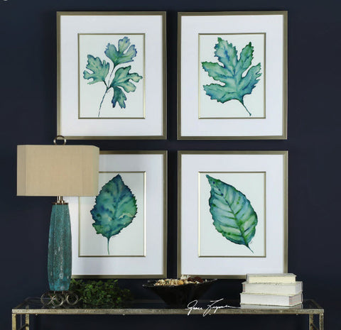 Spring Leaves Watercolor Reproductions Framed Prints, Set of 4 - Innovations Designer Home Decor