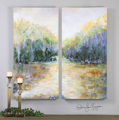 Summer View Landscape Hand Painted Diptych Artwork, Set of 2 - Innovations Designer Home Decor