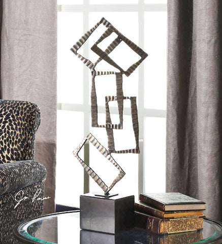 Talal Contemporary Brushed Nickel Sculpture - Innovations Designer Home Decor