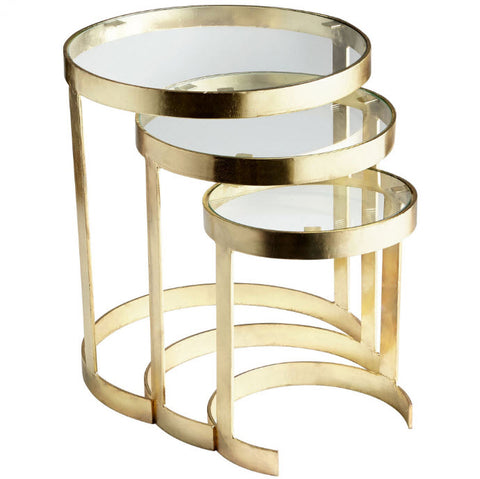 Terzina Brass & Glass Nesting Tables - Innovations Designer Home Decor