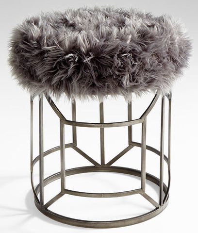 Ushanka Iron Grey Faux Fur Upholstered Stool - Innovations Designer Home Decor