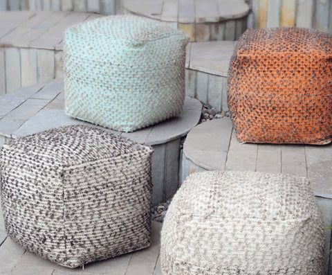 Valda Aqua Wool Pouf - Innovations Designer Home Decor