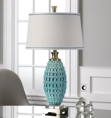 Beau Villas Aqua Ceramic Table Lamp   Innovations Designer Home Decor