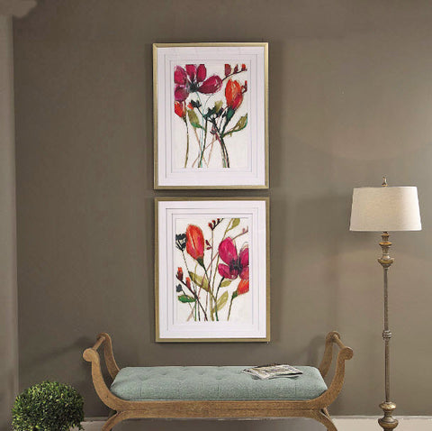 Vivid Arrangement Floral Framed Artwork Prints, 2-Piece Set - Innovations Designer Home Decor