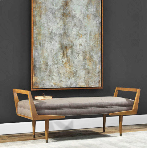 Waylon Mid-century Modern Taupe Upholstered Bench - Innovations Designer Home Decor