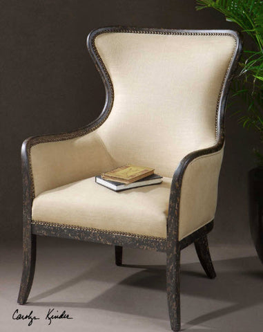 Zander Tan Wingback Armchair - Innovations Designer Home Decor