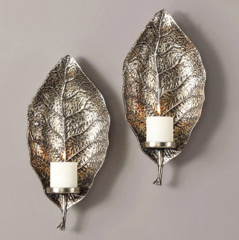Zelkova Leaf Antiqued Silver Wall Sconces - Innovations Designer Home Decor