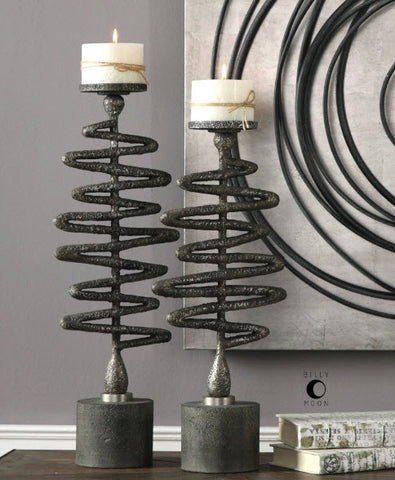 Zig Zag Antiqued Silver Candleholders - Innovations Designer Home Decor