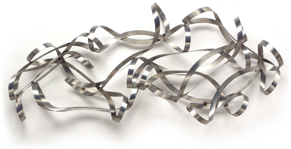 Rhythmic Contemporary Brushed Steel Wall Sculpture