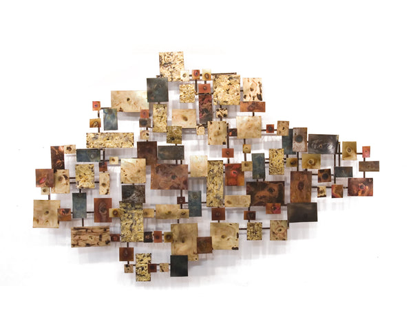 Glisten Contemporary Copper and Brass Metal Wall Sculpture