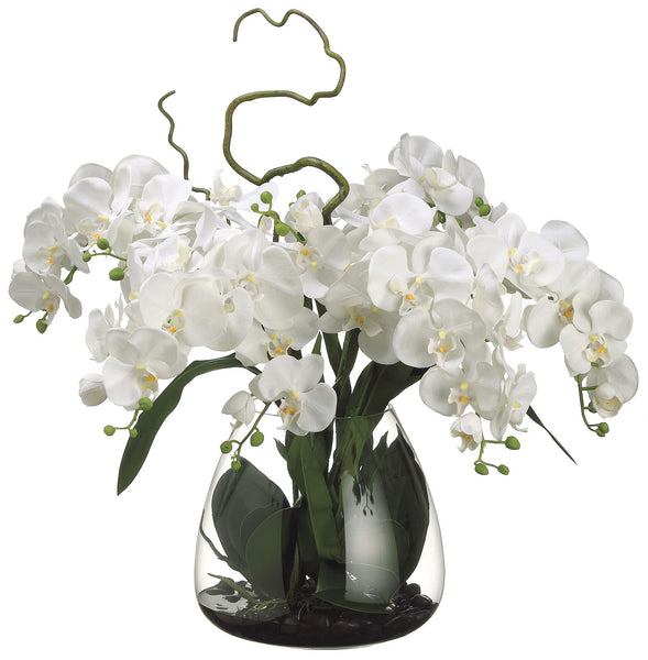 Phalaenopsis Silk Orchids In A Clear Glass Vase