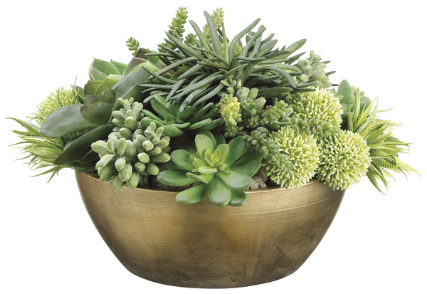 Lifelike Succulent Garden In Decorative Round Bronze Container
