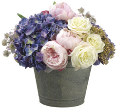 Lifelike Hydrangeas, Roses and Peonies in Decorative Metal Container