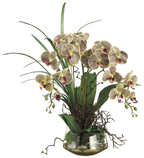 Lifelike Variegated Phalaenopsis Orchid and Twigs Floral Arrangement