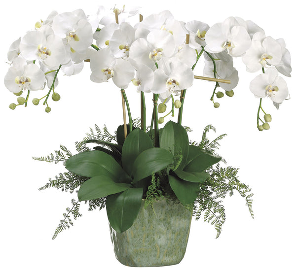 Lifelike White Phalaenopsis Orchids With Lace Ferns Silk Arrangement
