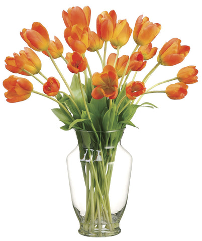 Apricot Colored Tulips Silk Floral Arrangement In Clear Glass Vase