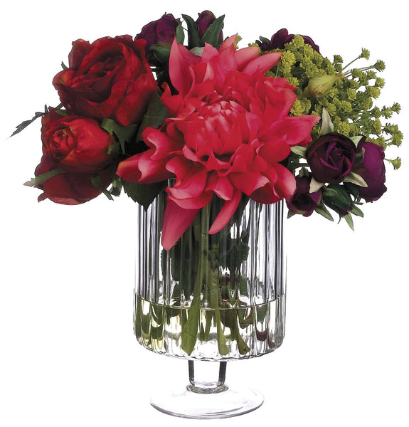 Lifelike Dahlia, Rose and Ranunculus Floral Arrangement in Footed Glass Vase