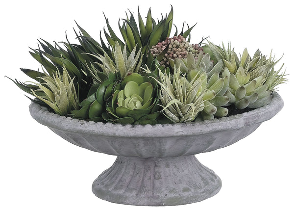 Lifelike Succulent Arrangement In Decorative Footed Bowl