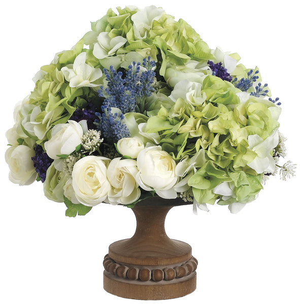 Lifelike Hydrangeas, Ranunculi and Statice Floral Arrangement in Footed Bowl