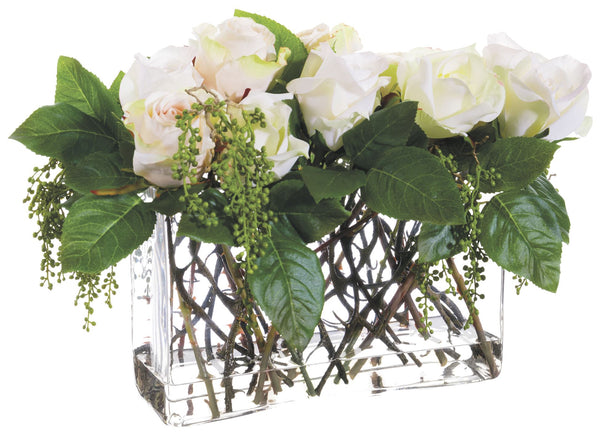 Lifelike Rose Floral Arrangement in Faux Water Rectangular Glass Vase