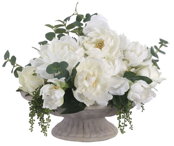 Lifelike White Peony and Rose Floral Arrangement