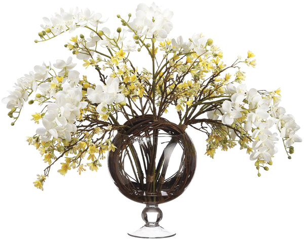 Lifelike White Orchid and Yellow Heptacodium Floral Arrangement