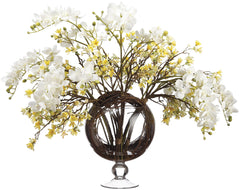 Lifelike White Orchid & Yellow Heptacodium Floral Arrangement