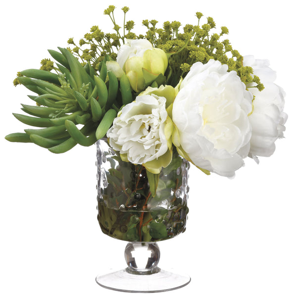 Lifelike White Peony Mixed Floral Arrangement in Faux Water Glass Vase