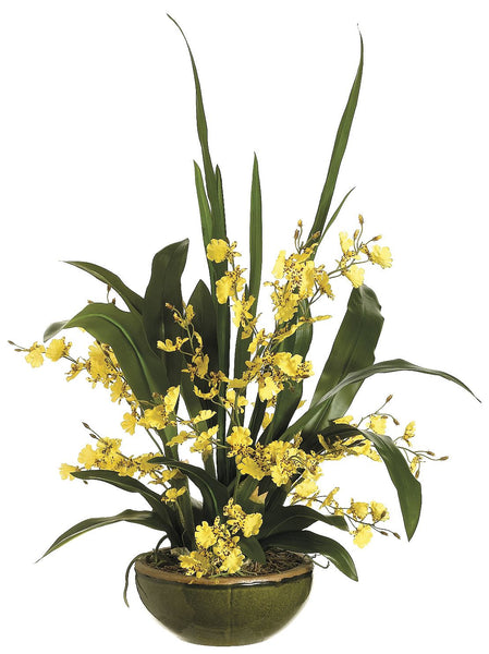 Lifelike Yellow Oncidium Orchid Arrangement In Round Green Textured Ceramic Bowl