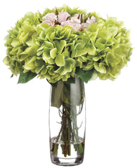 Lifelike Hydrangea & Pink Rose Large Floral Arrangement