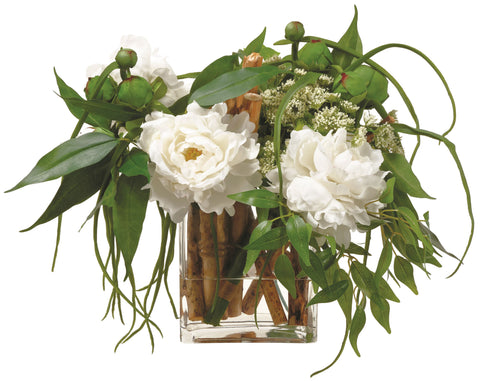 Lifelike White Peony Floral Arrangement with Twigs and Greenery