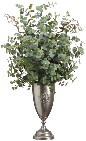 Lifelike Eucalyptus and Curly Willlow Arrangement in Footed Silver Urn