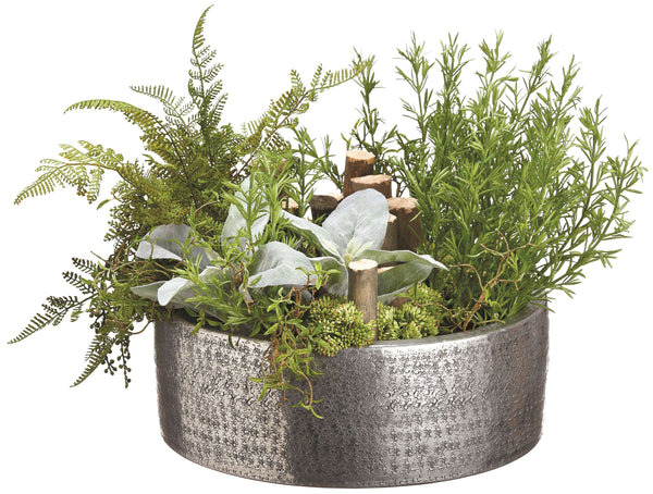 Lifelike Mixed Greenery Garden in Round Textured Metal Planter