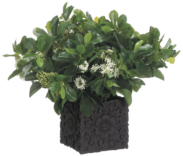 Lifelike Privet Green Plant with Queen Anne's Lace In Decorative Container