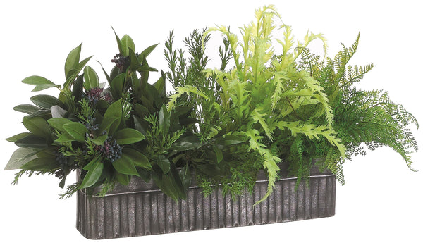 Lifelike Rosemary and Fern Mixed Plant Arrangement