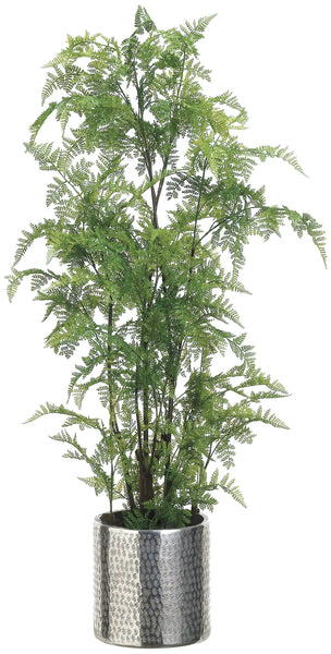 Lifelike Leather Fern Plant in Textured Silver Decorative Container