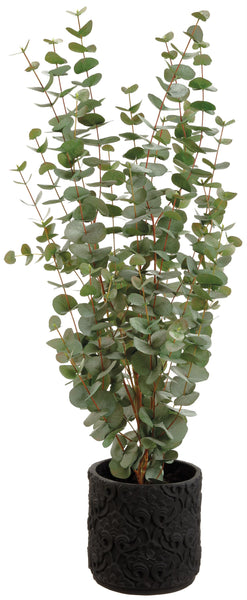 Lifelike Blue-Green Eucalyptus Plant in Dark Brown Carved Planter