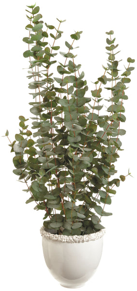 Lifelike Eucalyptus Plant in Decorative Ceramic Vase
