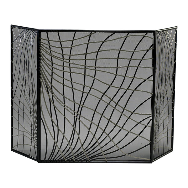 Finley Contemporary Silver and Black Iron Fireplace Screen