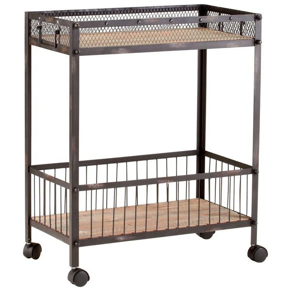 Desmond Distressed Iron and Reclaimed Wood Serving Cart