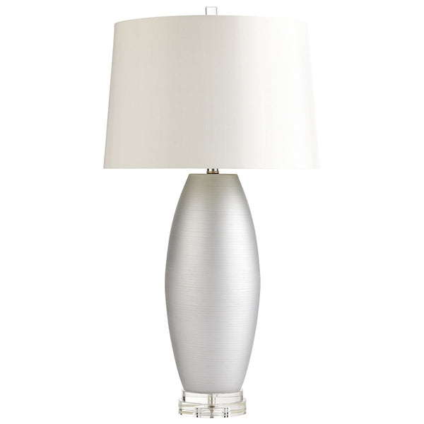 Moonlight Contemporary Silver Ceramic Table Lamp