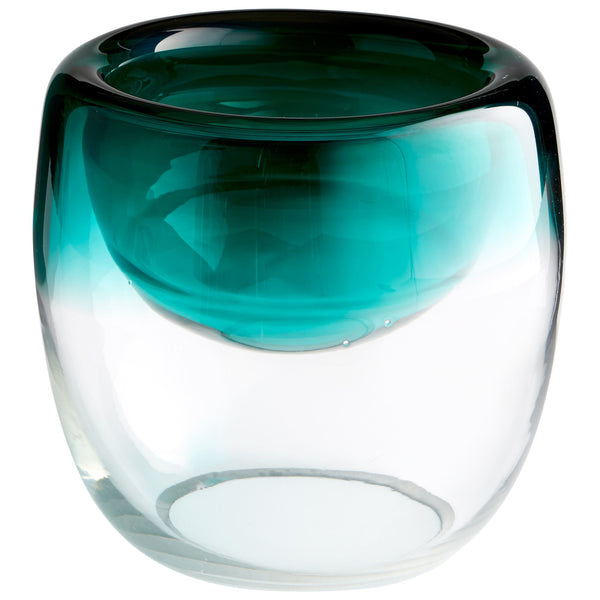 Abyssal Contemporary Large Teal Art Glass Decorative Bowl