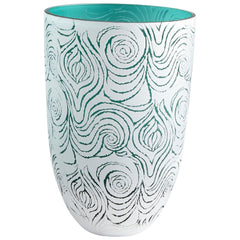 Destin Aquamarine and White Swirled Art Glass Vase, Large by Cyan Design