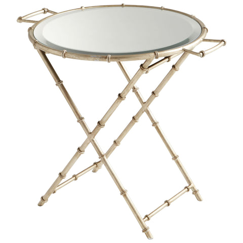Amelia Antique Silver Round Tray Table by Cyan Design
